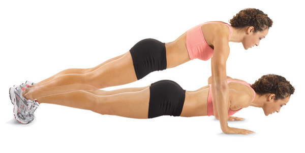 woman push-up workout